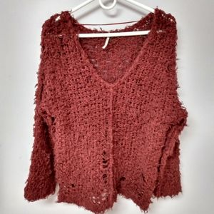 Free People oversized distressed sweater
